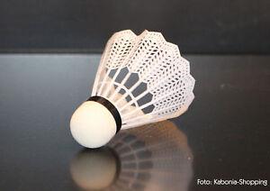6x-Shuttles-Badmintonball-Federball-weiss-Nylonshuttle-Plastik-NEU-Alert