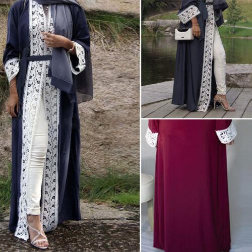 Muslim Women Dubai Style Open Front Abaya Cardigan Islam  Robe Kaftan Maxi Dress