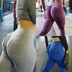 94eee8f7c9 Women Push Up Sports Scrunch Butt Lift Elastic Leggings Gym Yoga ...