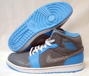 NIKE AIR JORDAN 1 PHAT Men s Basketball Shoe-Cool Grey NC Blue-10 ... 410b1448d