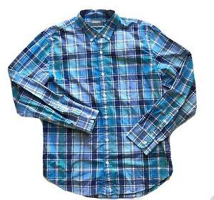 BONOBOS-Slim-Fit-Men-039-s-Button-Front-Shirt-Blue-Teal-Plaid-Checkered-Size-XL