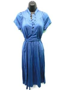 Vintage 70s Sassy Lassy S Blue Empire Dress Short Sleeve Knee Hippie Boho Day Sm