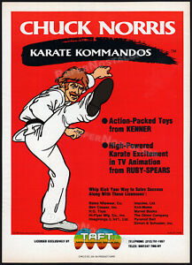 Chuck-Norris-KARATE-KOMMANDOS-Original-1986-Trade-AD-promo-poster-KENNER-TV
