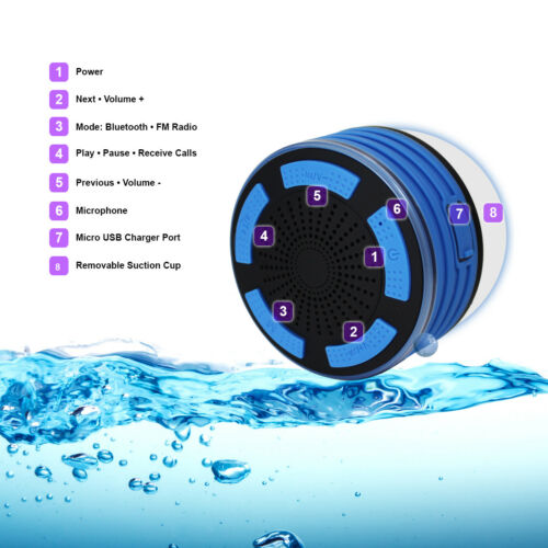 Waterproof Bluetooth Shower Speaker Portable Wireless Bass Stereo w// FM Radio
