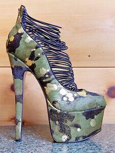 Details about Zigi NYs London Trash Ceres Camo Green Gold Pony Platform High Heel Shoe