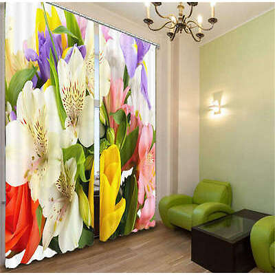 Colorful And Nice Flowers 3D Curtain Blockout Photo Print Curtains Fabric Window