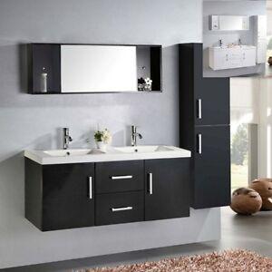 Mobile bagno arredo moderno doppio lavabo ceramica specchio mensola ...