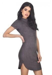 4691ce4128da AX Paris Women Dark Grey Faux Suede Mini Dress Bodycon High ...