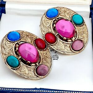Red-Green-Purple-Pink-Glass-Cabochon-Goldtone-Celtic-Clip-on-Earrings-signed-DMJ