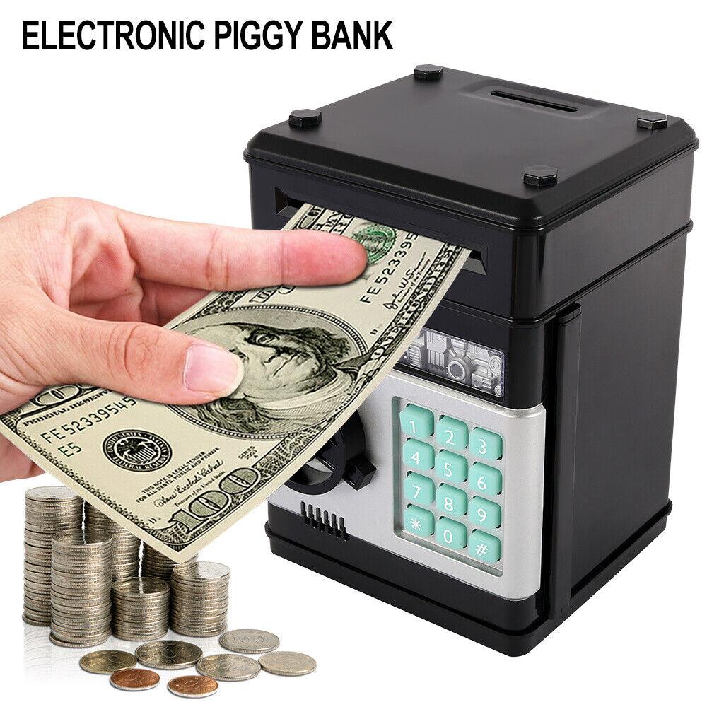 Safe Lock Money Box Code Plastic Saving Piggy Bank Cash Coins Gift Memory Travel