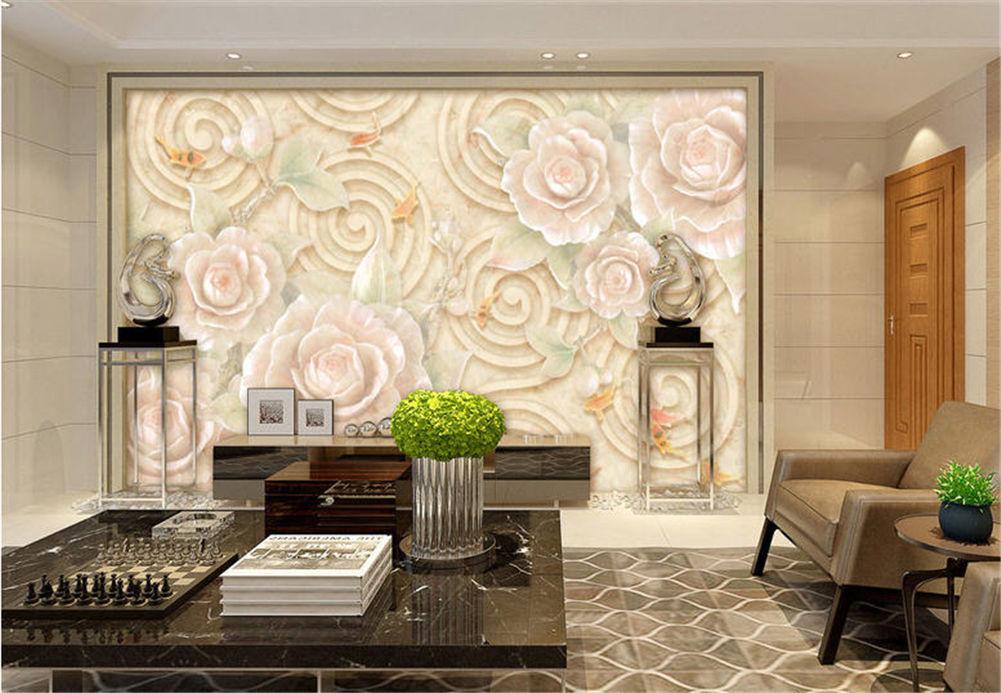 Pure Weiß Rose 3D Floor Mural Photo Flooring Wallpaper Home Print Decoration