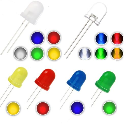 5mm 8mm 10mm LED White, Yellow, Green, Red, Blue  Diffused, Water Clear, Solid
