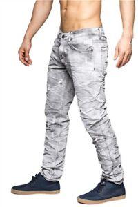 Hombre-Denim-Jeans-Slim-Fit-apenados-vintage-gris-Clubwear-Destruido