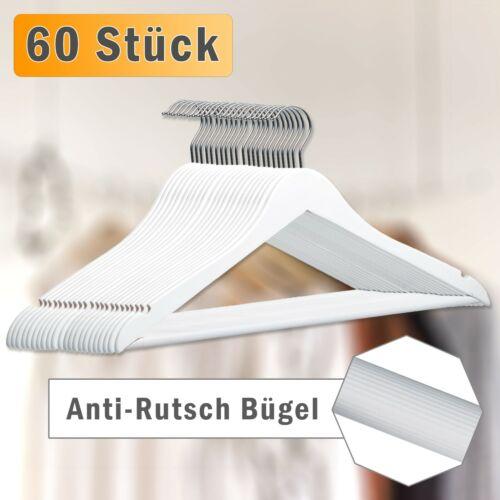für Jacken Hosen Hemden anti-Rutsch Design Holz Kleiderbügel in Weiß 60 Stück