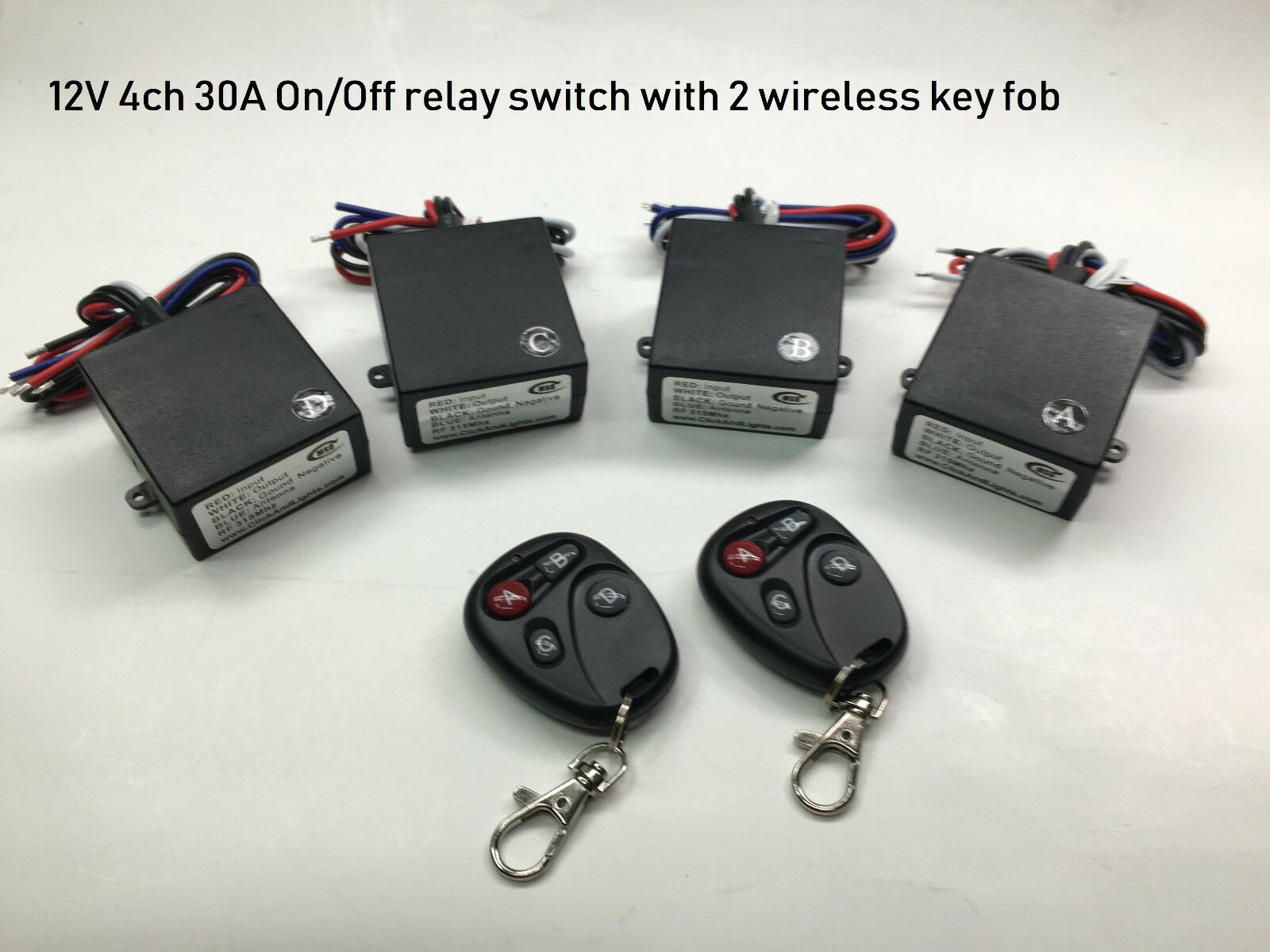 12V 30A with 12v output 4ch ON OFF relay with 2 remote control switch RX106