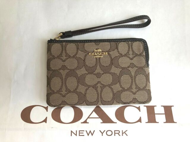 NWT Coach  Outline Signature Corner Zip Wristlet Khaki Brown F58033 $68