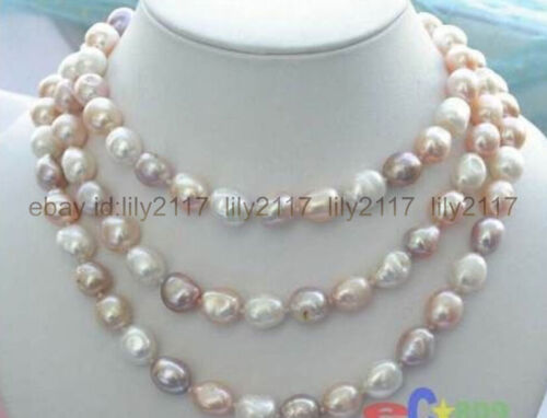 """beautiful 8-9mm baroque white+Pink+Purple freshwater pearl necklace 46"""" AAA"""