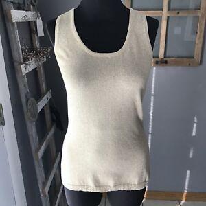 Christine-Alexander-Women-039-s-Gold-Cotton-Nylon-Metallic-Sleeveless-Knit-Top-S-Euc
