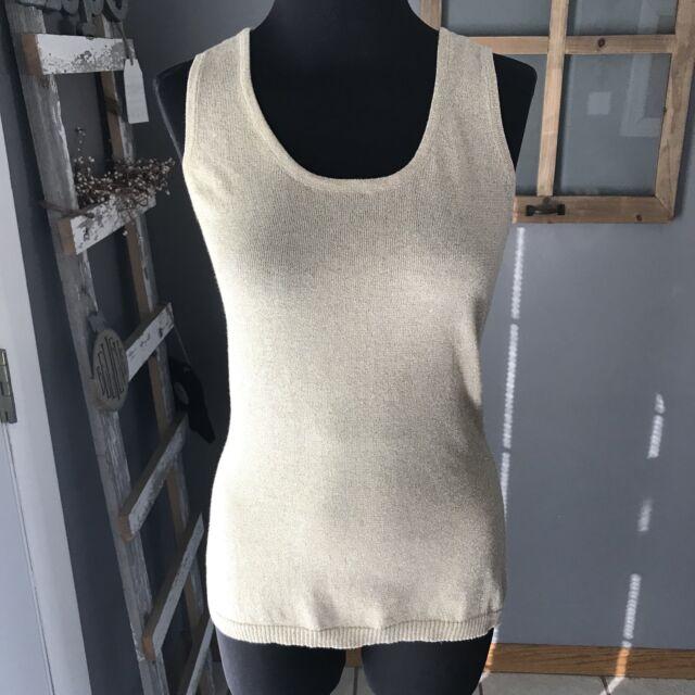 Christine Alexander Women's Gold Cotton Nylon Metallic Sleeveless Knit Top S Euc