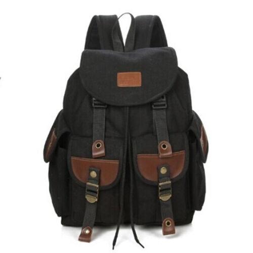 Men/'s Vintage Canvas Backpack Leather Camping Hiking Travel Satchel School bag