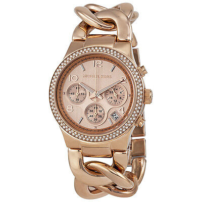Michael Kors Chronograph Rose Dial Rose Gold Ion-plated Ladies Watch MK3247