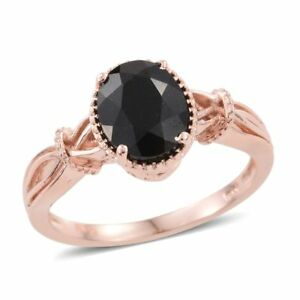 BLACK-TOURMALINE-OVAL-FACETED-SOLITAIRE-18K-ROSE-GOLD-ION-BRASS-SIZES