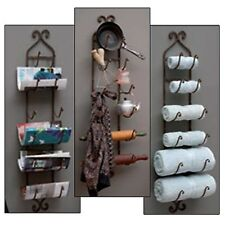 Wall Mount Metal Wine Bottle Rack Towel Holder Bathroom Kitchen