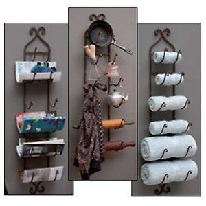 Metal Wall Mount Wine Rack Bottle Holder Towel Bathroom Kitchen