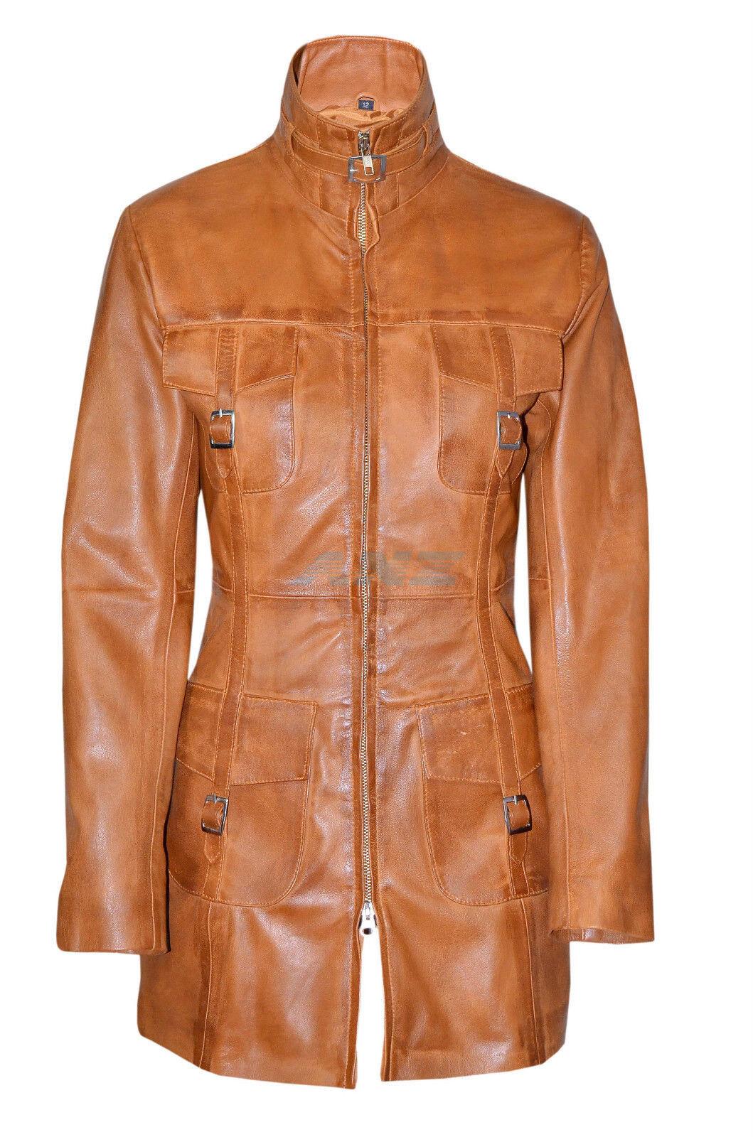 Lasvegas Dark Red Ladies Women Vintage Soft Washed Leather Jacket Trench Coat