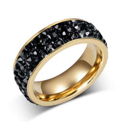 7MM 18K Gold Plated Stainless Steel 3 Row CZ Crystal Wedding Band Ring Size 6-13