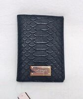 Victoria's Secret Black Faux Python / Crocodile Skin Travel Passport Case Sk569