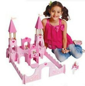 Details About Chad Valley Pink Wooden Fantasy Castle With Wooden Carriage With Horse Figures
