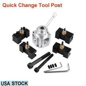 Aluminum-Alloy-Quick-Change-Tool-Post-Holder-Kit-Set-Lathe-Accessory