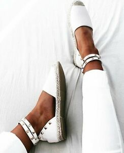 LADIES-FLAT-LOW-HEEL-White-ESPADRILLES-ANKLE-STRAP-SUMMER-Studded-SANDALS
