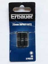NEW Erbauer Impact Screwdriver Bits H5 x 25mm Pack of 3
