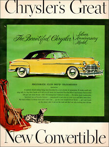 Silver Anniversary Model Vintage Print Ad Beautiful 1949 Chrysler