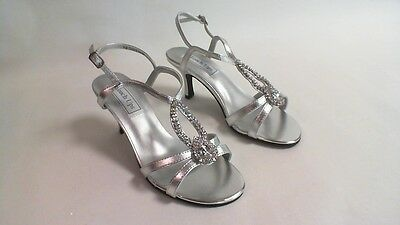 Zapatos De Noche/Boda Touch Ups-Plata Sandalia-Mindy-US 6M Reino Unido 4 #34L442