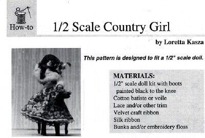 "1/"" scale Dollhouse Doll Pattern:AUSTRIAN PANEL FOR DRESS By P Stinson  PS946 PDF"
