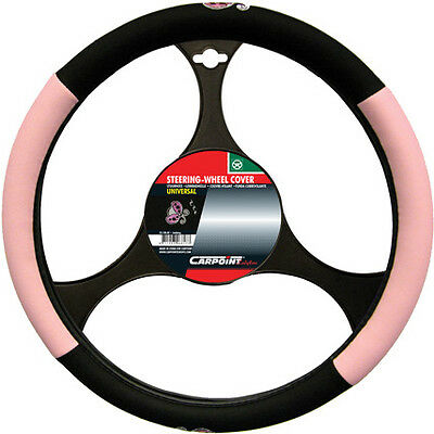 NEW CAR INTERIOR PINK & BLACK LADYBIRD LADYBUG STEERING WHEEL COVER
