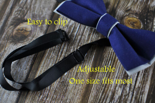 Father Son Match 100/% Cotton Handmade Grey and Navy Blue Bow Tie Bowtie Wedding