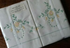Pillow-Cases-amp-Bolster-Set-Vintage-Irish-Linen-Embroidered-Bedding-Unused-Boxed