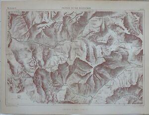 1873 Landkarte Pässe Der Maurienne Berge MT Ambin St Michel Lanslebourg