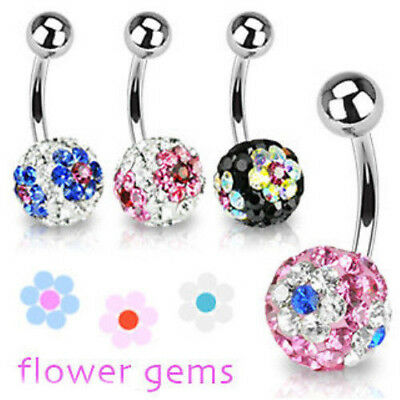 Silver Belly Rings CZ Crystal Gemstone Stylish 5 Triangle Flower 925 Sterling Body Jewelry