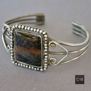 Vintage-OLD-Navajo-Petrified-Wood-Sterling-Silver-Cuff-Bracelet
