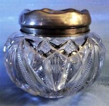 BEAUTIFUL PRESSED GLASS SILVER LIDDED VANITY JAR POWDER TRINKET ANTIQUE