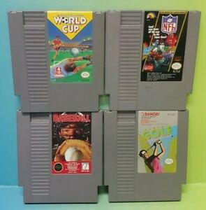 Nintendo-NES-Game-Lot-Tested-Authentic-Football-Baseball-Golf-Soccer-World-Cup