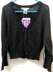 Girls-Size-14-Kids-US-Designer-Sally-Miller-Couture-Black-Glitter-Knit-Cardigan