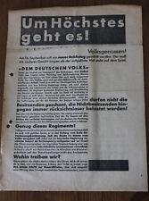 Alter Wurfzettel / Wahlwerbung SPD / Um Höchstes geht es! 1920/30
