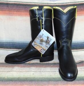 6446eb8b8a2 Details about Womens Vintage Justin Roper Black / Yellow Leather Roper  Cowboy Boots 6.5 B NEW