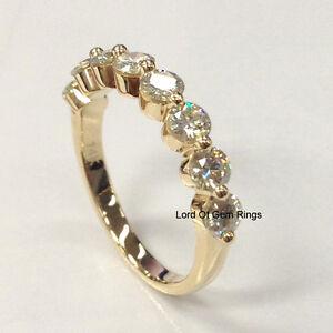 Moissanite Wedding Band Anniversary Ring 14k Yellow Gold 3 5mm Round